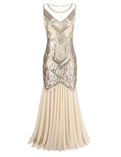 tage 1920s Beaded Sequin Maxi Long Gatsby Flapper Prom Dress S Champagne Pink (Beaded Stretch Prom Dress)