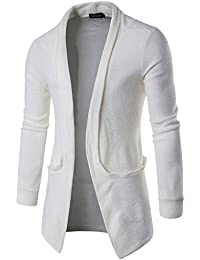 Mens Casual Contrast Button Down Zip up Slim Cardigan