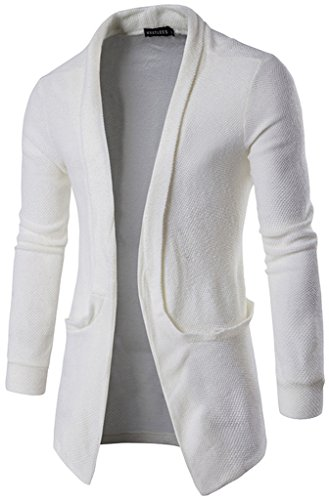 Whatlees Mens Casual Long Designer Solid Wool Blend Slim Fit Open Outwear Cardigan B338-White-L