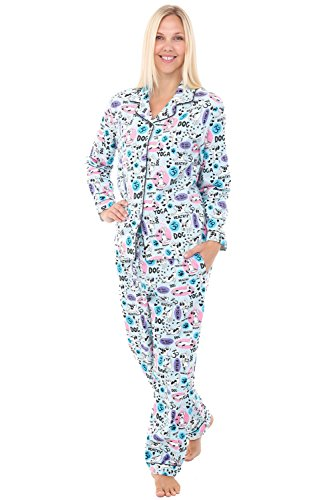 Alexander Del Rossa Womens Flannel Pajamas, Long Cotton PJ Set, Large Healthy Dog Doing Yoga (A0509Q77LG)