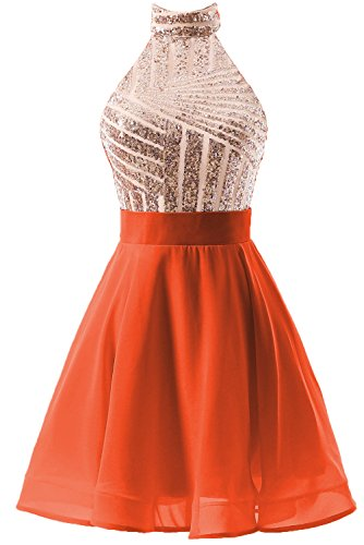 for Dress Halter Party Homecoming Women's Dress orangered DYS Juniors Rosegold Backless Short Prom wZXx4Fgzq