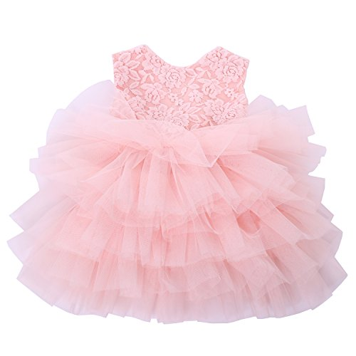 Cilucu Baby Girls Dress Toddler Kids Party Dress Tutu Pageant Lace Dresses Gown for Flower Girl Baby Birthday Pink Peach 12Months-2T