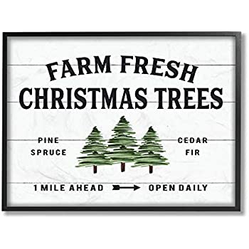The Stupell Home Décor Collection White Planked Look Holiday Farm Fresh Christmas Trees Spruce and Fir Framed Giclee Texturized Art, 16 x 20, Multi-Color