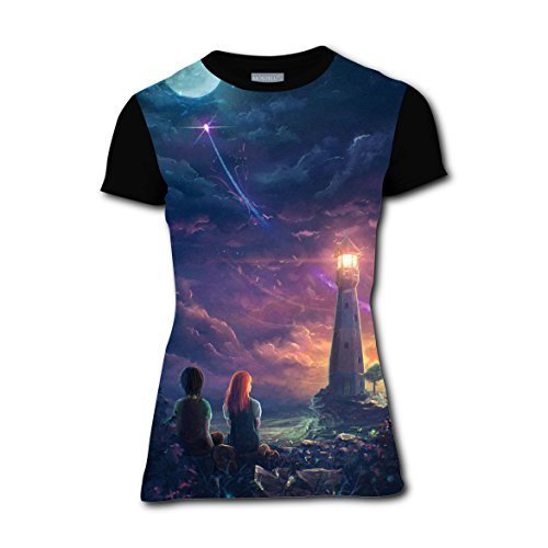 Titanic Costumes For Kids (Night Romantic LOVE Couple Girl Crew Neck T Shirts Running Tee Tops for Woman M)