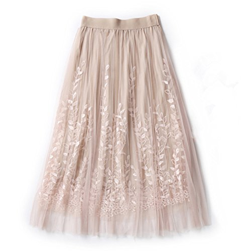 MCCKLE Elegant Tulle Floral Embroidery Elastic Waist Long Pleated Skirt A-line Tutu Lace Mesh Midi Skirts (Beige)