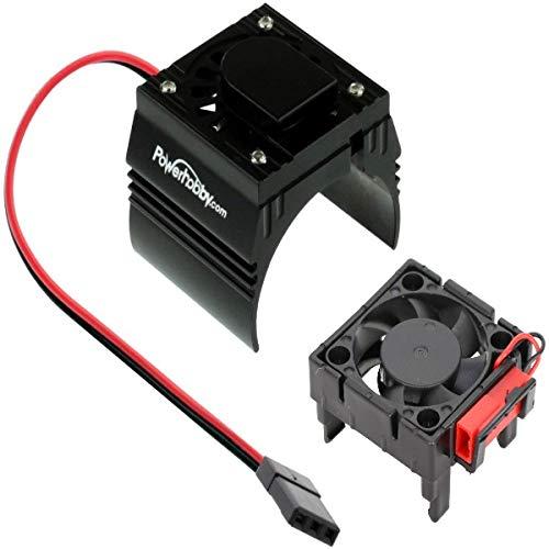 Powerhobby Cooling Fan for Traxxas Velineon VXl-3 ESC + 540/550 Heatsink Motor Fan Combo Black FITS : Traxxas Slash/Stampede 2WD / RUSTLER/Bandit / Rally VXL