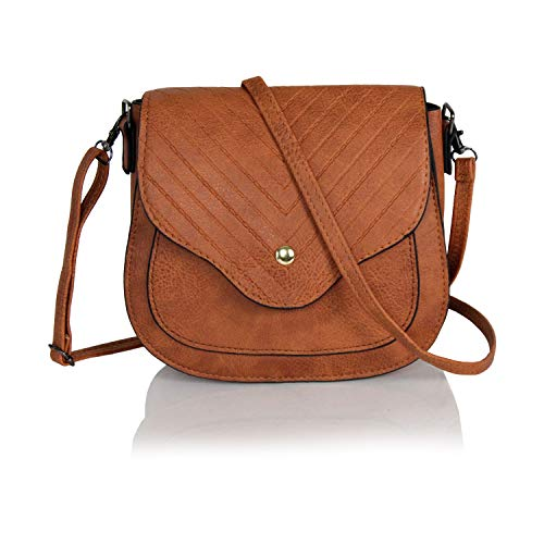 Chic Mini Herringbone Vegan Leather Saddle Bag, Boho Chevron Crossbody Swing Purse with Adjustable Long Strap (Cognac)