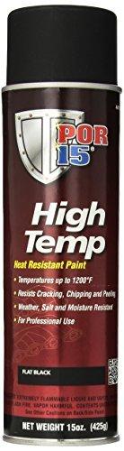POR-15 44118 Black High Temperature Paint Flat, 15 fl.oz