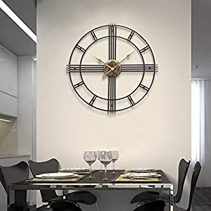 Wall clock Reloj Grande 50 cm Esqueleto Negro Metal Reloj de Pared de jardín 1 AA batería Sala de Estar Comedor 3