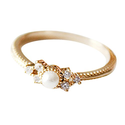 Excelsia Trias Solitaire 14K Rose/White Gold-Plated Ring with Simulated Pearl