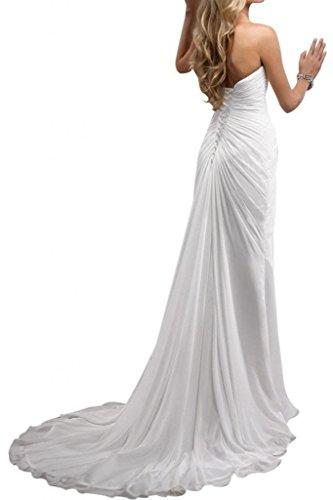 Gorgeous Bride Einfach Her-Ausschnitt Empire Lang Kapelle-Schleppe Brautkleider Hochzeitskleider