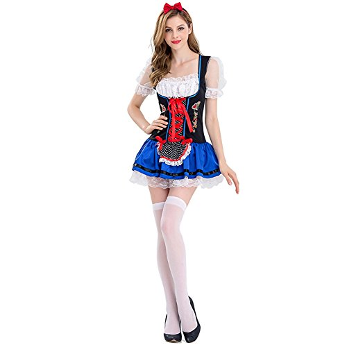 Women's Oktoberfest Lederhosen Costumes Bar Maid Cosplay Halloween (Halloween Bar Maid Costume)