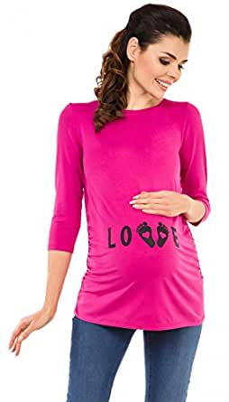 Zeta Ville Premamá - T-Shirt Camiseta Divertido Estampada - para Mujer - 548c (Fucsia, EU 36/38, S)