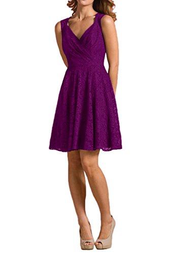 Partykleider V Abendkleider Braut linie ausschnitt Spitze Traube mia La Rock Brautjungfernkleider Violett A xfqw8Z