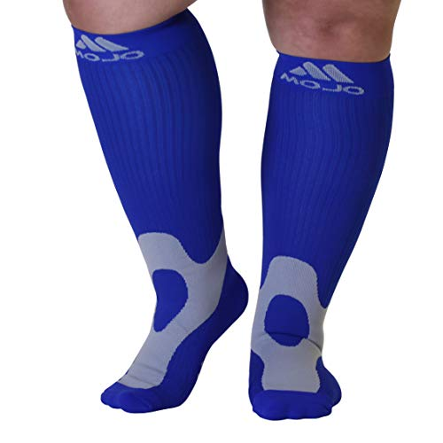 3XL Mojo Compression Socks 20-30mmHg EX-Wide Calf Compression Stockings Navy