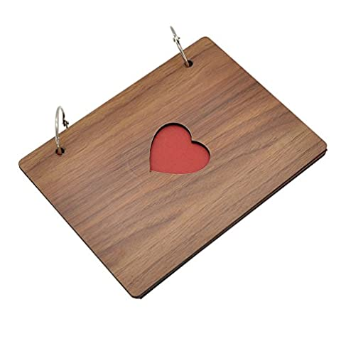 Handmade Wood Photo Album Wire Binding Hollow Heart Cover Scrapbook - Wood Photo Album Book