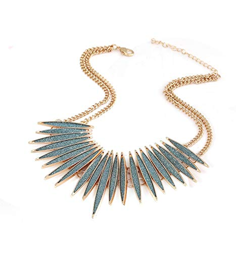 MOLOCH Sparkling Druzy Leaf Choker Necklace Fashion Gold-Tone Collar Necklace Bib Statement Chunky Tribal Necklace Woman Jewelry (Bule) by MOLOCH