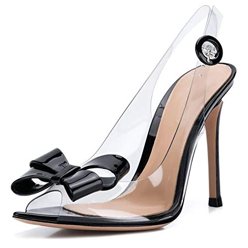Women Pointed Open Toe Plexi Bow Slingbacks Transparent 120mm Covered High Heels Lucite Clear Sandals (9.5, Black)