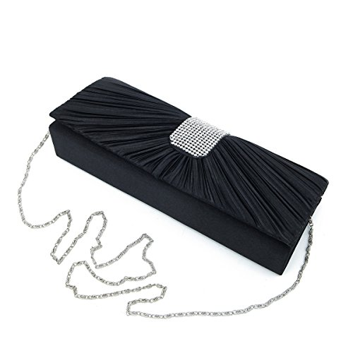 Beige Classic Flap (Elegant Classic Pleated Satin Flap Rhinestones Clutch Evening Bag, Black)