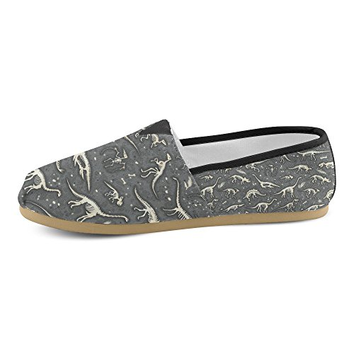 Interestprint Rock And Roll Musique Mocassins Hipster Chaussures Occasionnels Pour Les Femmes Silhouettes, Dino Squelettes, Dinosaures, Fossiles