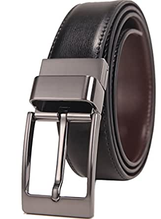 """Beltox Fine Men's Dress Belt Leather Reversible 1.25"""" Wide Rotated Buckle Gift Box (26-28, Black Rotated Buckle)"""
