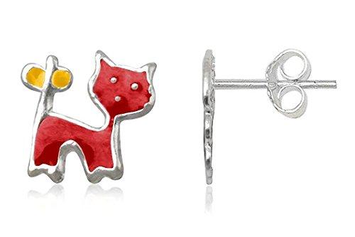 JAYARE® Boucles d'Oreilles Enfant chattes rouge jaune Argent 925/1000 et émail avec étui