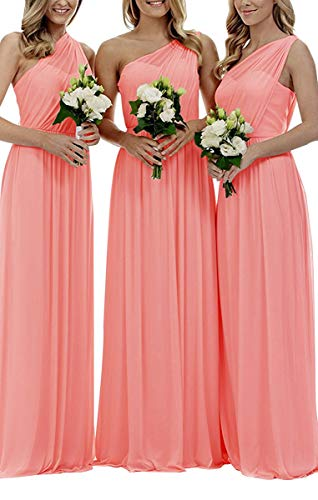 Staypretty Bridesmaid Dresses for Women Long One Shoulder Asymmetric Chiffon Prom Evening Gown Coral 26