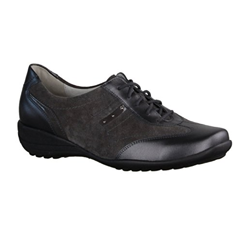 Waldläufer, Katja,Weite K, memphis velour softlack asphalt, Luftpolstersohle, herausnehmbares Fußbett Grau
