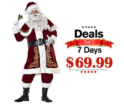 ELFJOY Adult Santa Claus Christmas Suit Costume Set 7Pcs for Party Cosplay (Beard Not Included) (Large) (Suit Regency Santa)