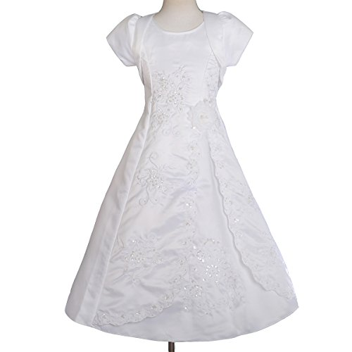 Dressy Daisy Girls' Rich Beading Embroideries Special Occasion Dresses with Bolero for Wedding Flower Girl Party Size 2-3T White