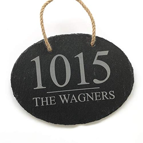 Personalized Oval Slate House Sign - House Numbers Plaque (Small 7 3/4