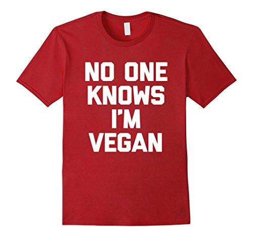 Mens No One Knows I'm Vegan T-Shirt funny saying sarcastic humor 3XL Cranberry
