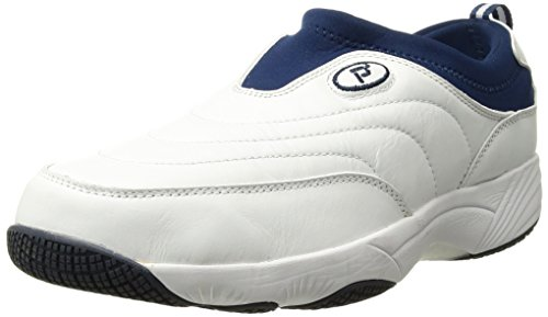 Propet Men's Wash N Wear Slip On Suede Walking Shoe, sr White Navy, 11 3E US