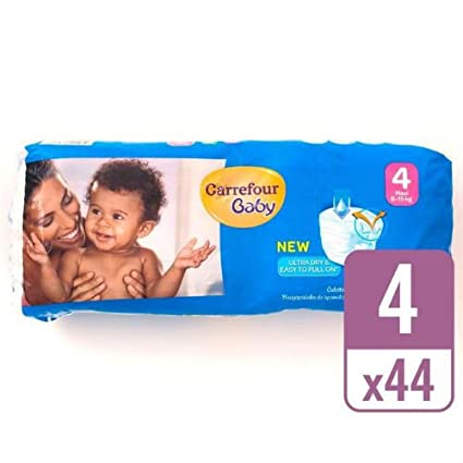 Carrefour - Pañales para bebé (talla 4, 44 unidades)