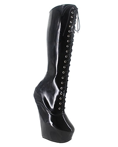 Wonderheel 8inch heelless sexy plateforme genou lacets bottes cuir noir verni bottes femme