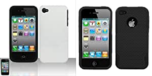 Combo pack White Silicon + Protector Case for APPLE iPhone 4 And ASMYNA Black/Black Astronoot Phone Protector Cover for APPLE iPhone 4S/4