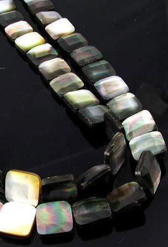 3 Beads for Jewelry Making of Faceted Tahitian Mop Shell Square Beads for Jewelry Making 009396