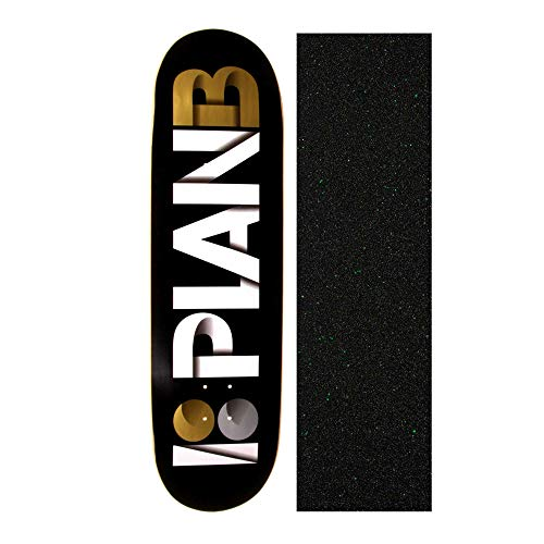 (Plan B Overlap Black/Gold 8.75 inch Skateboard Deck with Mob Glitter Grip Tape)