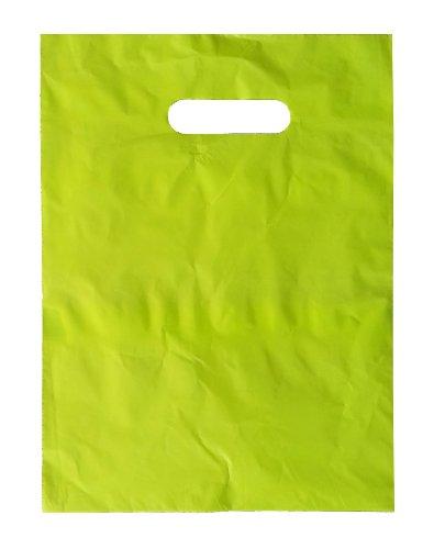 9 x 12 Lime Green Die Cut Handle Plastic Shopping Bags 100/cs