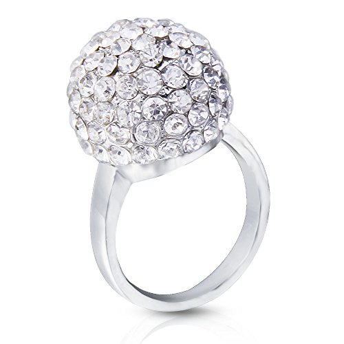 Sterling Silver Decoration (JEWERYE Disco Fashion Round Ball Bead Cocktail Band Ring (Size:7) -Wedding Promise Ring ,Party Mushroom Shape Rings Silver, Gold-Plated CZ Stone Jewelry for Women Decoration (Size:8.5))