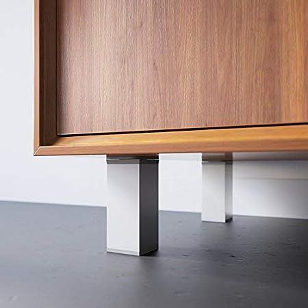 Hauteur : 60mm +//- 20mm Mat/ériel : 100/% aluminium Vis inclus Design: Alu Sossai MFV1-AL060-4 r/églables lot de 4 Pieds de meubles Forme angulaire: 40 x 40 mm