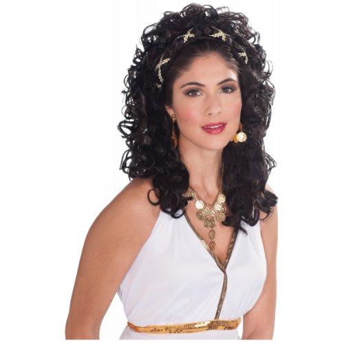 Forum Novelties Women's Roman Greek Goddess Renaissance Princess Costume Wig, Black, One Size -