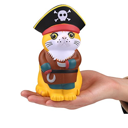 (LaooDa 4.8'' Jumbo Cat Squishy Toy Slow Rising Cartoon Cosplay Pirates of The Caribbean Pet Animal Soft Squeeze Kid Adults Game Garfield Toy)