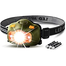 besti 200 Lumens CREE LED Headlamp,White & Red LEDs and 5 Lighting Modes, Adjustable Strap, IPX4 Water Resistant. Great For Running, Camping, Hiking & More.(Batteries Included)