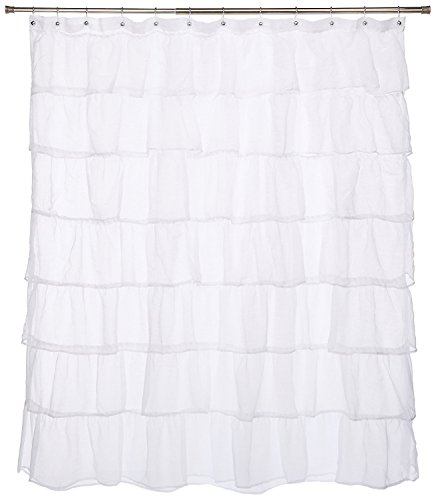 """Gee Di Moda Gypsy Luxury Ruffle Bathroom Shower Curtain, 70\"""" x 72\"""", White"""