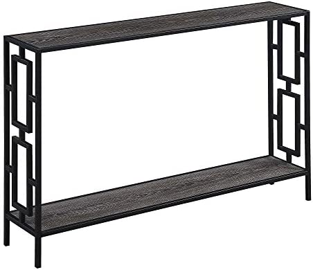 Convenience Concepts Town Square Metal Frame Console Table, Weathered Gray Black