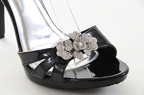 Gioiello Metallico Da Cerimonia Nuziale Formale Da Sera Donna Piattaforma Sandali B-nero