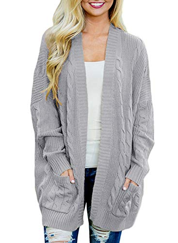 Open Front Cable - Doballa Women's Open Front Chunky Cable Knit Twisted Cardigan Sweater Coat With Pocket (M, Light Grey)