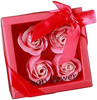 TwoCC 4 Caja de Regalo Jabón Flor Día de San Valentín Jabón Hecho A Mano Ramo de Flores Rosadas Claveles Hogar Caja de Regalo de Boda (Rojo,A): Amazon.es: Hogar