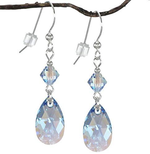 Swarovski Crystal Sapphire Blue Aurora Borealis Teardrop and Bicone Sterling Silver Earrings